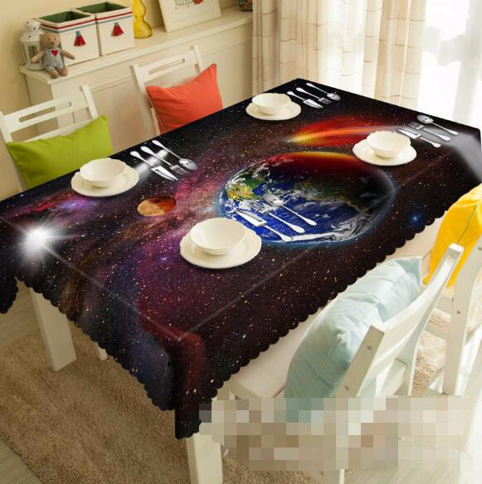 3D Planet 67 Nappe Table Cover Cloth fête d'anniversaire AJ papier peint Royaume-Uni Citron