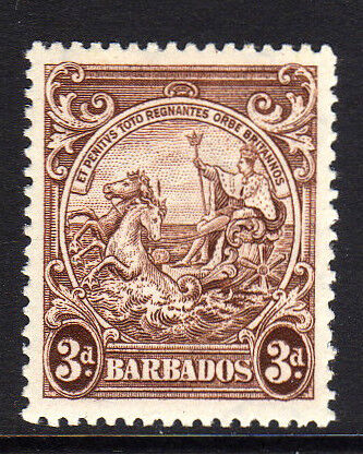 BARBADOS 1938-47 3d BROWN WITH VERTICAL LINE SG 252a MINT.