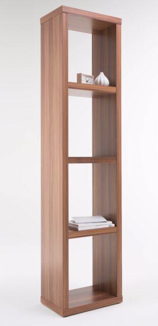 Alphason 4 Shelf Narrow Wooden Bookcase Unit Walnut