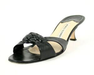 MANOLO-BLAHNIK-Black-Leather-Braided-Vamp-Mid-Heel-Slides-Sandals-39