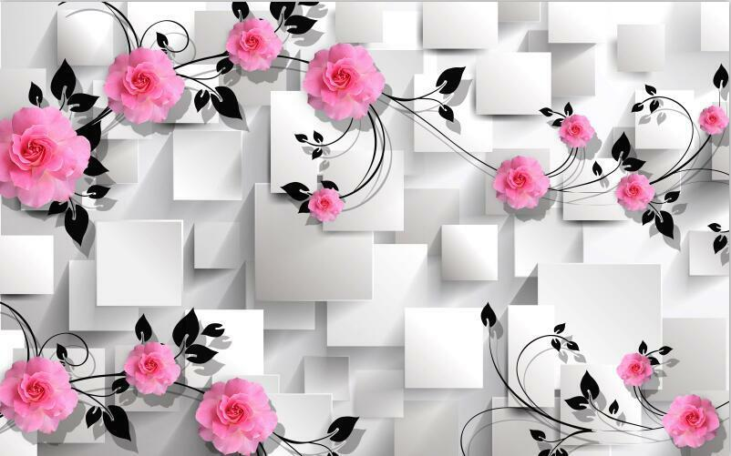 3D Modern fashion flower box Wall Paper Print Decal Wall Deco Indoor wall Mural