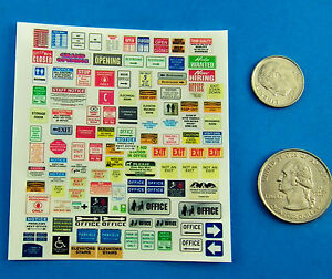 HO 1:87 TRAIN CUT & PEEL CLEAR STICKERS, BUILDING SIGNS OPEN CLOSED EXIT HELP