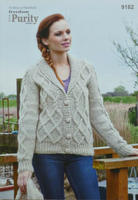 Knitted Shawl Collar Cardigan Ladies Chunky Knitting Pattern Freedom