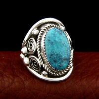 Sterling Silver Mrn's Turquoise Ring Sixe 10 Native American M-ade --- R71 F T