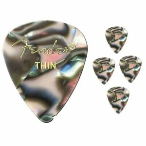 Fender-Premium-Colored-Celluloid-Guitar-Picks-351-Abalone-Thin-5-Picks