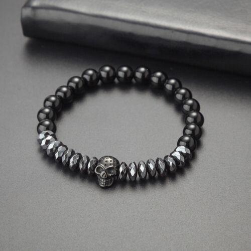 Men Bracelet Crown Skull Skeleton Beads Cuff Charm Bracelet Bangle Men JewelryYE