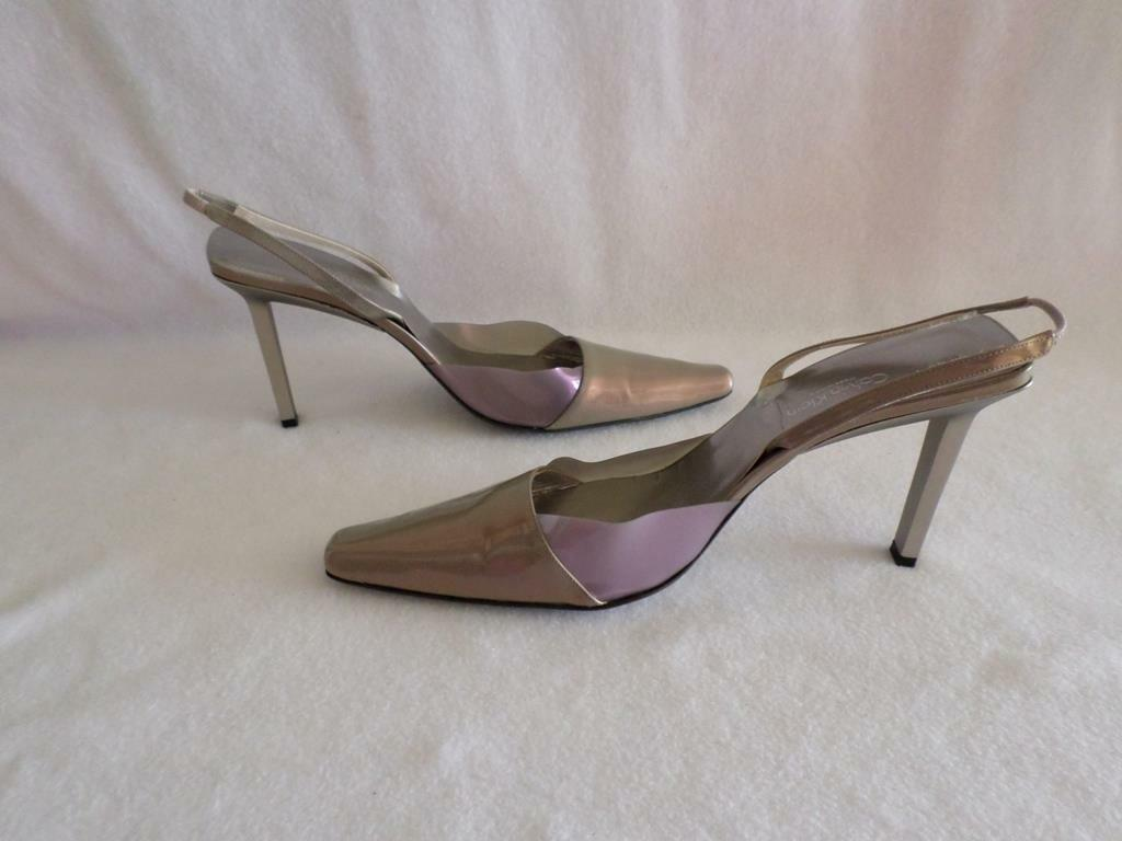 CALVIN KLEIN IRRIDESCENT PATENT LILAC HEELS ITALY WOMEN'S SIZE 8.5 STYLE 813950