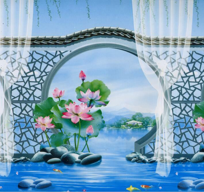 3D Pretty Lotus Pond Scenery Wall Paper Print Decal Wall Deco Indoor wall Mural