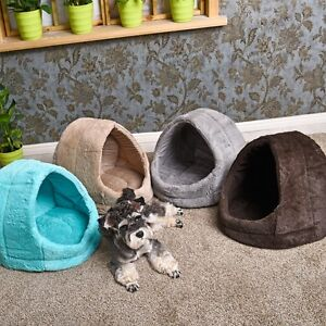 Pet Dog Kennel Igloo Beds Puppy Kitten Cat Warm Hut Winter Cozy Bed Small House | eBay