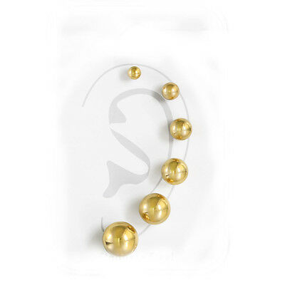 Sexy Sparkles 316L Surgical Stainless Steel Round Ball Studs Earrings 6 Assorted