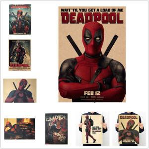 Avengers Deadpool Retro Papel Kraft Póster Cafe Decoración Dormitorio Cuadros