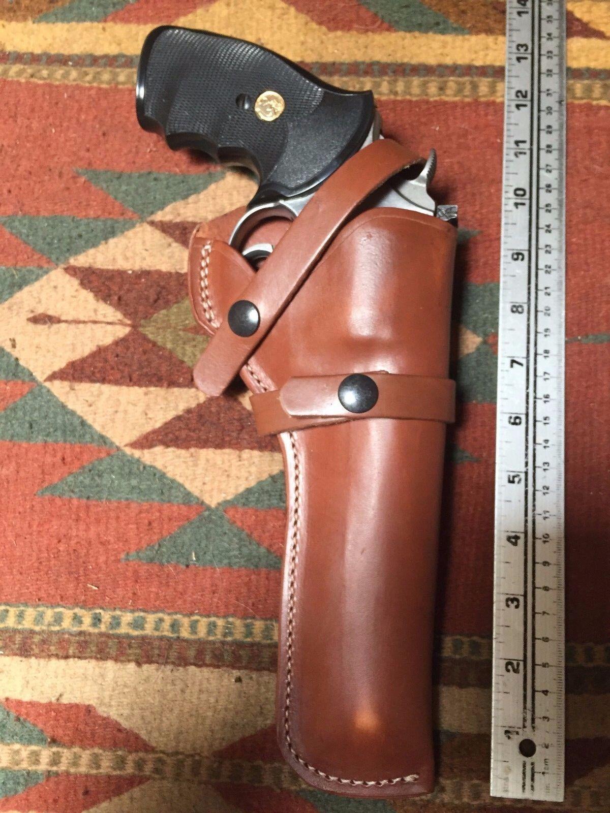 FITS Ruger GP100 Colt Python King Cobra 6  Tanned Leather Field Holster USA