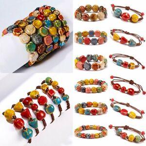 New-Fashion-Boho-Women-Ceramic-Beads-Bracelet-Wristband-Cuff-Bangle-Holiday-Gift