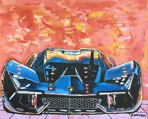Lamborghini-Original-Art-Painting-DAN-BYL-Modern-Contemporary-Exotic-Car-4x5-ft