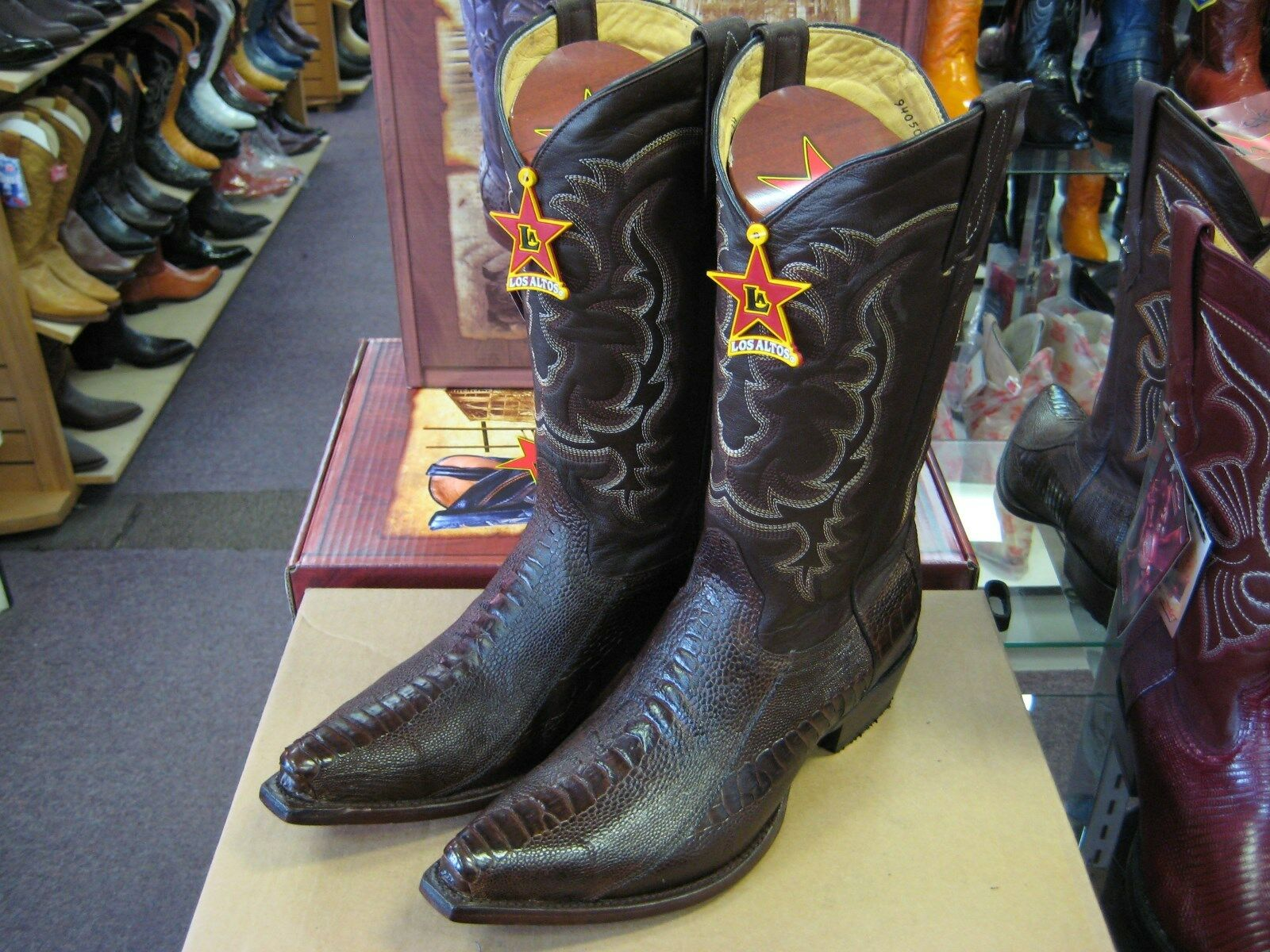 LOS ALTOS BROWN GENUINE SNIP COWBOY TOE OSTRICH LEG WESTERN COWBOY SNIP BOOT (EE) 94E0507 4d00a4