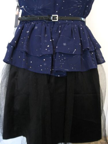KATE YOUNG Rare Navy and Black Peplum Dress with Tulle Size 8,10,12,14 NWT