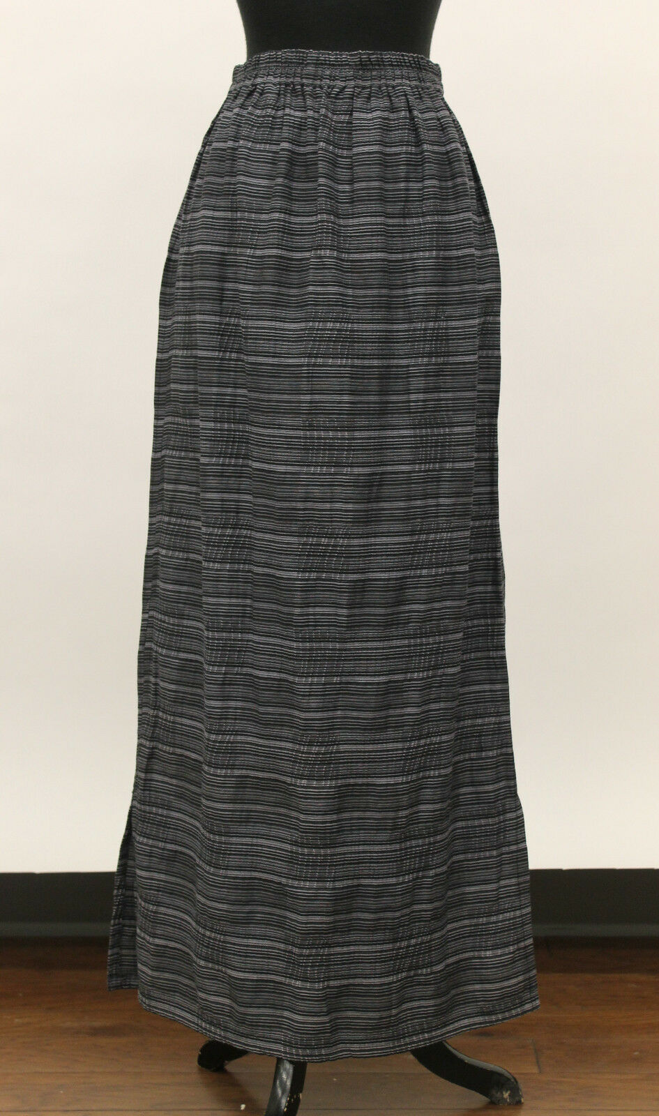PRISA EURO COTTON VISCOSE PINSTRIPED SLIT LONG SKIRT GRY BLK Sz 1 US 12  195 NWT