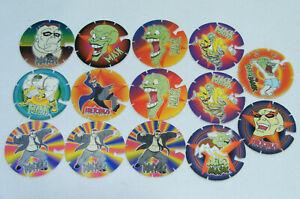 Lot de 14 BN TROC'S Volants THE MASK 1995 Pogs/Caps/Tazo/Paddles/Comic Shell