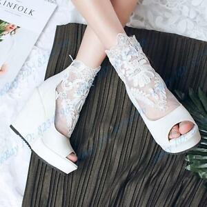 Stiefel Schuhe Plateau Freizeit Damen Keilabsatz Sandalen Sommer Peep Toe Lace OPkXZiTwu
