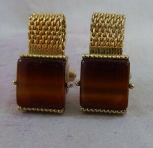 Vintage Swank Wrap Around Cufflinks Gold Tone Blue Glass Stone