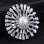 Women Pearl Crystal Silver Sunflower Wedding Party Bouquet Pin Brooch Jewelry