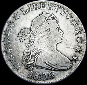 1806 Draped Bust Half Dollar Silver ---- NICE Pointed 6 No Stems ----#B049