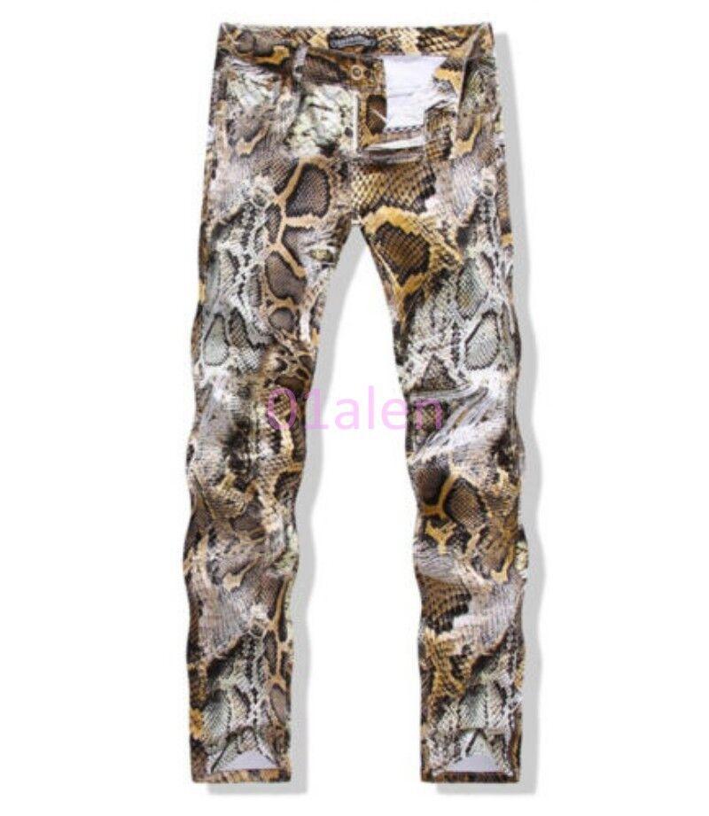 HOT Mens Vintage Slim Skinny Jeans Long Trouser Nightclub Snake Pattern Pants