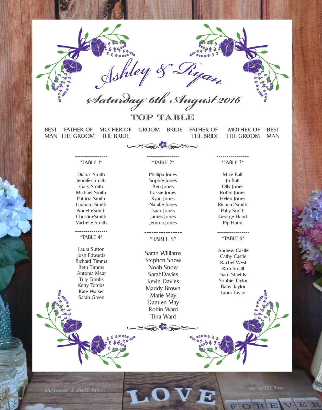 Personalised Table   Seating Plan  A1, A2 or A3  Fantasy Floral Weiß lila