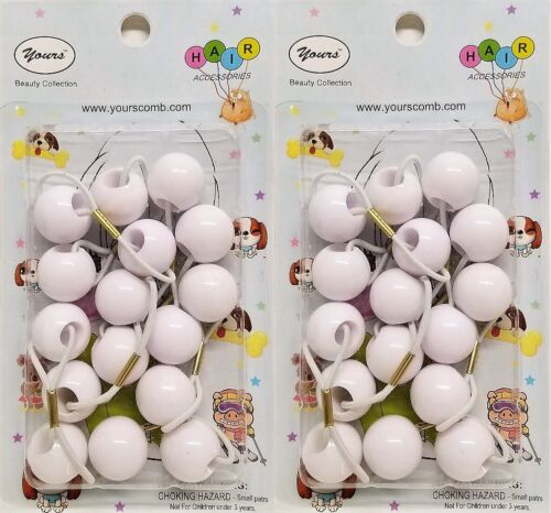 YOURS Twin Bead Bubble Ball Ponytail Elastic Holder Scrunchie Girls WHITE 8 Pcs