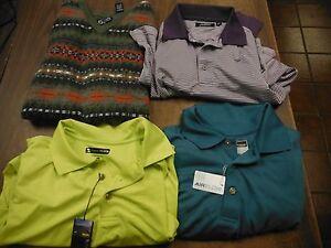 Golf-Shirt-Lot-of-4-Pcs-1-XL-Vest-2-NWT-Shirts-Size-L-Pebble-Beach-091615ame2