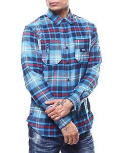 Parish-Nation-Navy-Plaid-Woven-Long-Sleeve-T-Shirt