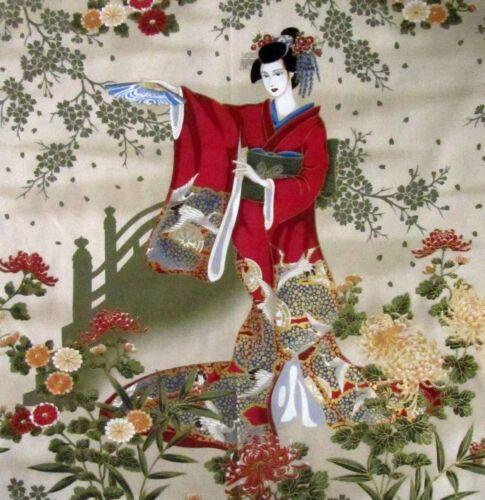 Tela algodón japonés Kona Bay Panel bailando Geisha Señorita Flores Flor Ventiladores