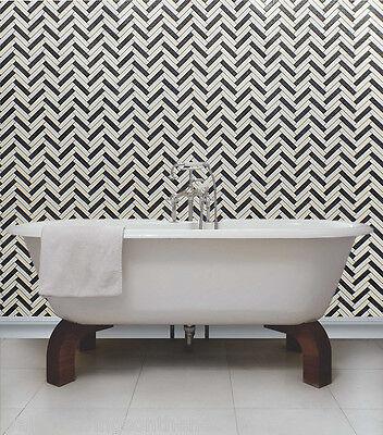 Black,White & Grey with Glitter, Herringbone Design Kitchen/ Bathroom Wallpaper