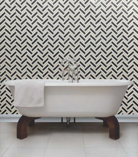 Herringbone design cuisine//salle de bain papier peint Blanc /& Gris avec paillettes Noir