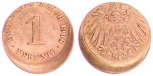 Empire 1 Pfennig 1908 J.10 20% Dezentriert Vf-Xf 45716