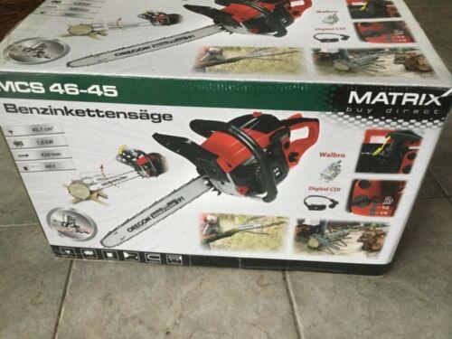 Matrix Benzin Kettensäge Motorsäge Motorkettensäge MCS 46-45 Schnittlänge 420 mm