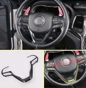 FOR jeep Grand Cherokee 2014-2020 red carbon fiber Steering wheel logo trim 1pcs