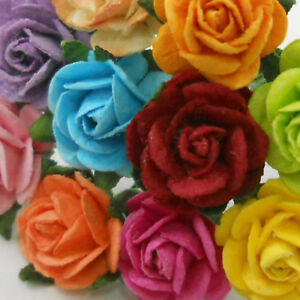 Details About 100 Small Mixed Rainbow Paper Craft Flower Wedding Scrapbook Rose 427 R8