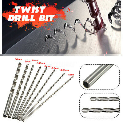 4-10mm Extra Long 200mm HSS Twist Drill Straigth Shank Auger Drilling Bit Tool
