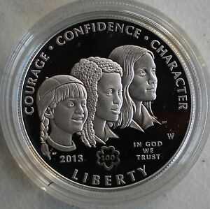 2013 GIRL SCOUTS of the USA CENTENNIAL PROOF SILVER DOLLAR COMMEMORATIVE  GEM!!