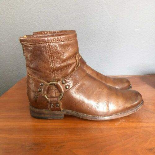 Frye Phillip Harness Ankle Boots Harness Whiskey W
