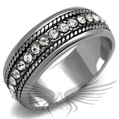 Brilliant Round Cut Top Grade Crystals Rhodium Plated Eternity Band 6 7 8 LO3737
