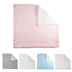 Baby Sherpa Comforter Safety Blanket with Minky Bubbles for Girls or Boys