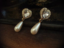 Vintage Crystal Heart & Pearl Drop Pierced Earrings