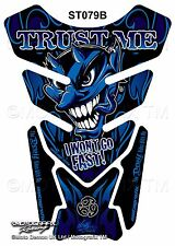 Blue Devil Demon Lucifer Motorcycle Tank Pad Tankpad Motografix 3D Gel Protector