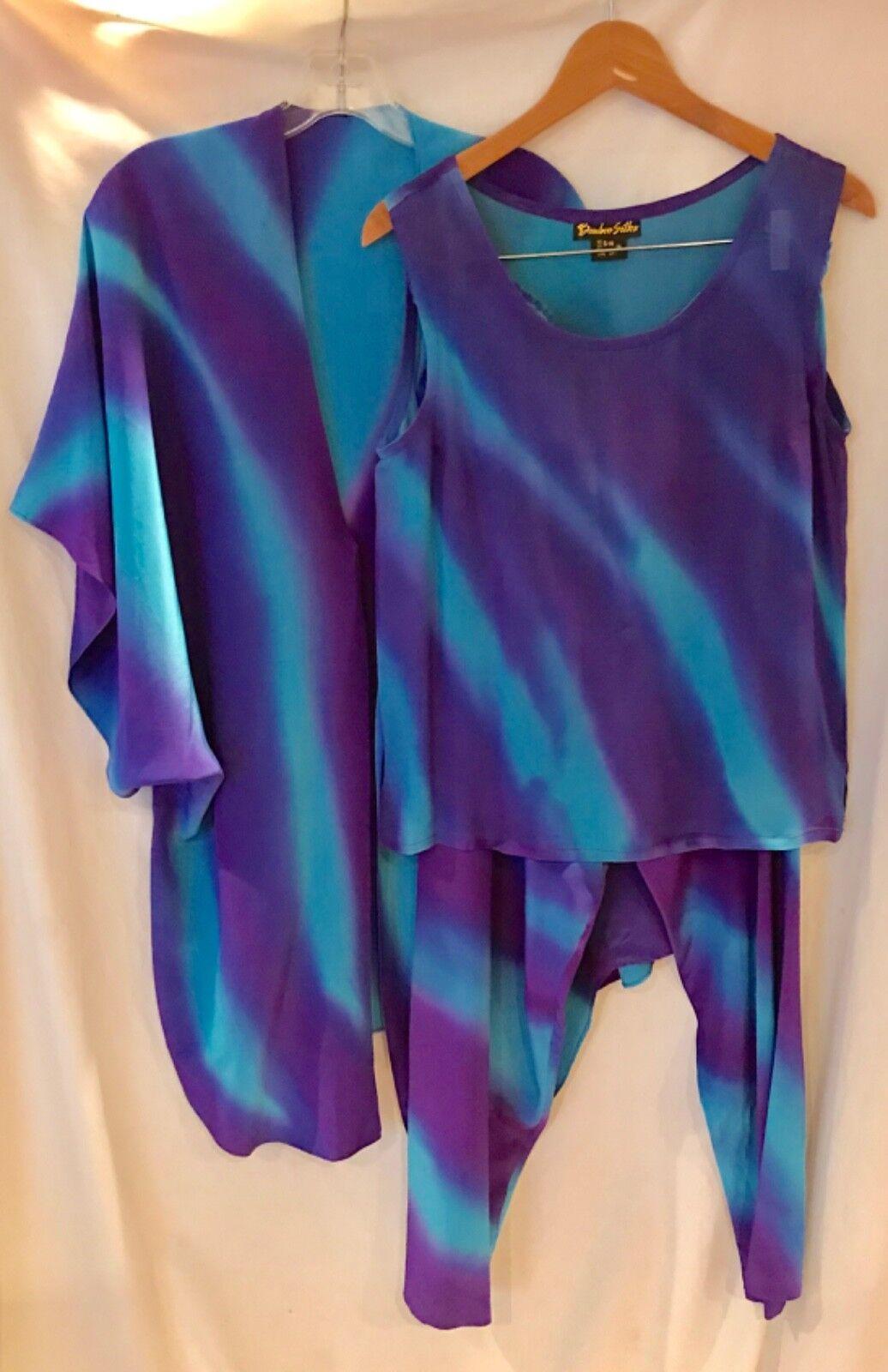 Retro bluee Purple Tie Dye Silk 3-Piece Kimono Suit SZ S M