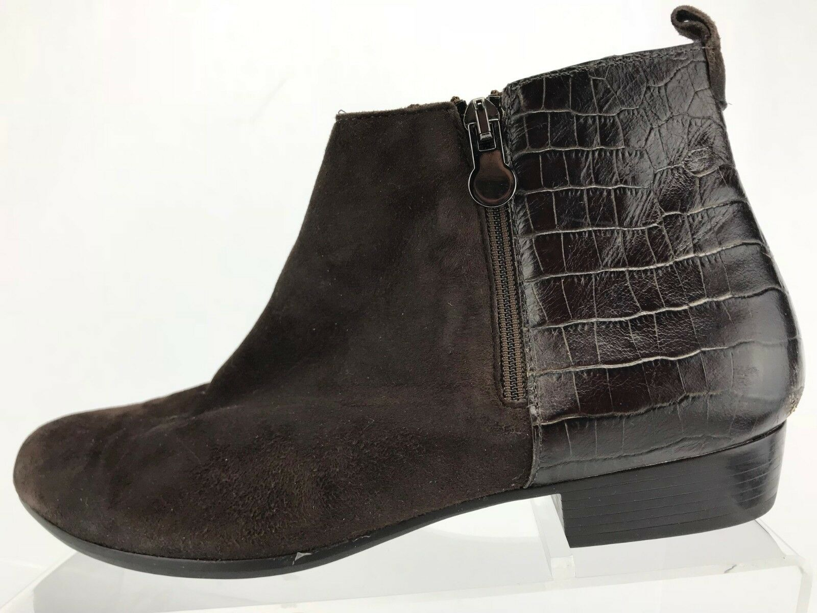 Munro Lexi Ankle Boots Brown Combo Suede Leather Booties Womens Size 9.5 W