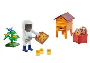 Playmobil-Add-On-6573-Beekeeper-with-Hive-New-Factory-Sealed