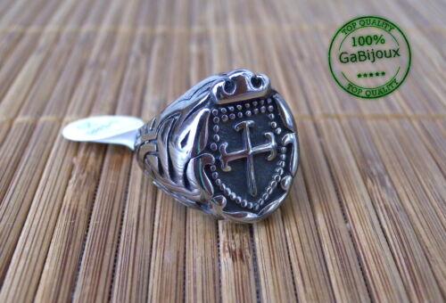 Anello in Acciaio Argentato Cavaliere Sigillo Cera Templare Templari Medievale