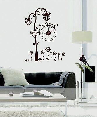 New Home Fashion Wall Clock Retro Street Lamp Wall Decal Sticker Real Clock